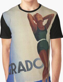 Grado Italy pin up Vintage Italian travel advertising Graphic T-Shirt