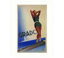Grado Italy pin up Vintage Italian travel advertising Art Print