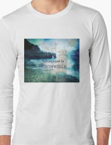 Travel Adventure quote by  Aesop, fantasy beach photo Long Sleeve T-Shirt