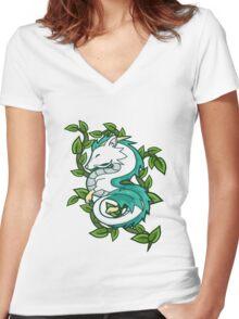 Haku // Spirited Away Women's Fitted V-Neck T-Shirt