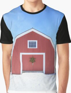 Traditional New England Red Barn in winter Graphic T-Shirt