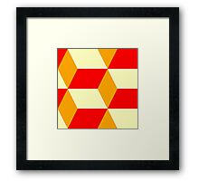 Red&Yellow Cube Pattern Framed Print