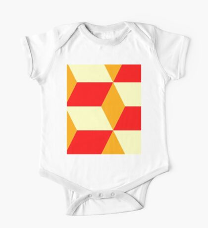 Red&Yellow Cube Pattern One Piece - Short Sleeve