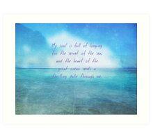 Sea ocean quote by Henry Wadsworth Longfellow Art Print