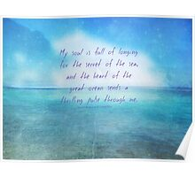Sea ocean quote by Henry Wadsworth Longfellow Poster