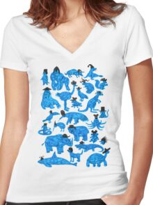 Blue Animals, Black Hats Women's Fitted V-Neck T-Shirt