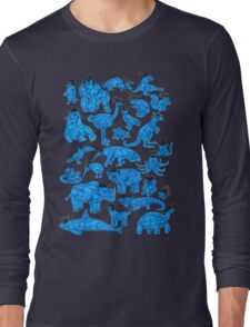 Blue Animals, Black Hats Long Sleeve T-Shirt