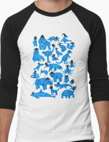 Blue Animals, Black Hats Men's Baseball ¾ T-Shirt