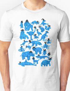 Blue Animals, Black Hats Unisex T-Shirt