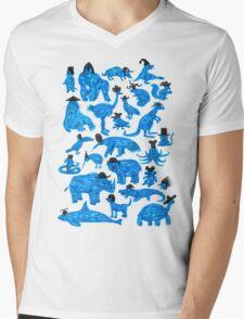 Blue Animals, Black Hats Mens V-Neck T-Shirt