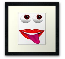 Smiling Mouth With Tongue Out and Brown Eyes Framed Print