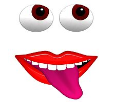 Smiling Mouth With Tongue Out and Brown Eyes Photographic Print
