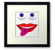 Smiling Mouth With Tongue Out and Blue Eyes Framed Print