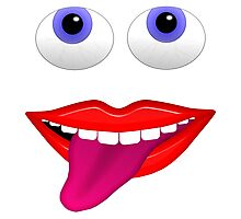 Smiling Mouth With Tongue Out and Blue Eyes Photographic Print