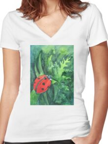 Red cute ladybird sitting on a leaf of grass Women's Fitted V-Neck T-Shirt
