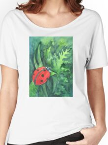 Red cute ladybird sitting on a leaf of grass Women's Relaxed Fit T-Shirt