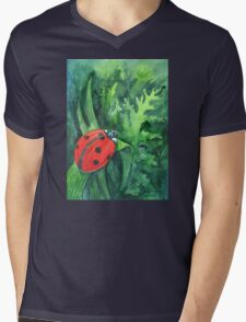Red cute ladybird sitting on a leaf of grass Mens V-Neck T-Shirt