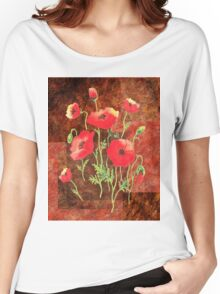 Decorative Red Poppies Women's Relaxed Fit T-Shirt