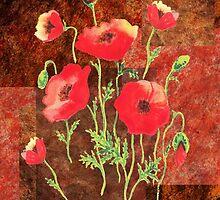 Decorative Red Poppies by Irina Sztukowski