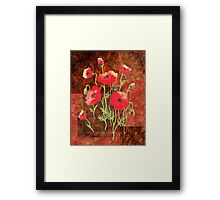 Decorative Red Poppies Framed Print