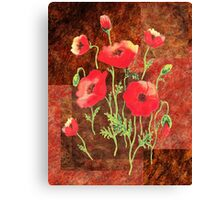 Decorative Red Poppies Canvas Print