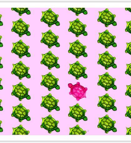 Pink Turtle Walking Against The Flow Sticker