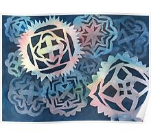 Decorative snowflakes, resembling gears, colorful with deep blue background Poster