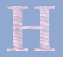 Initial H Rose Quartz And Serenity Pink Blue Wavy Lines by theartofvikki