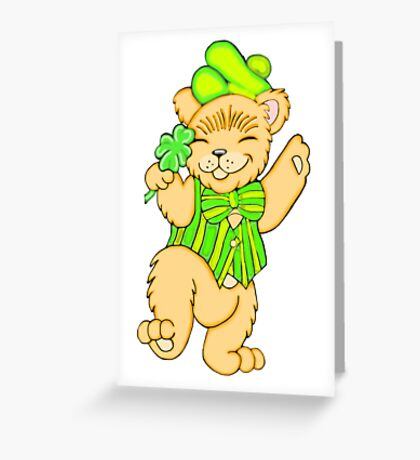 Irish Bear with Shamrock Greeting Card