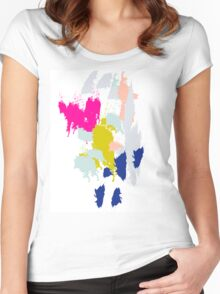 Acrylic paint brush strokes. Women's Fitted Scoop T-Shirt