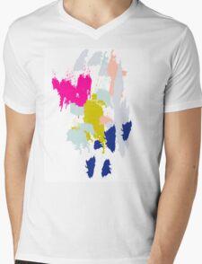 Acrylic paint brush strokes. Mens V-Neck T-Shirt
