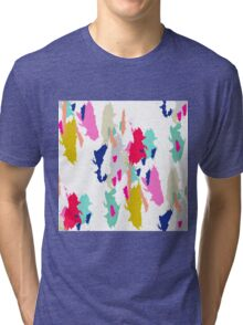 Acrylic paint brush stroke pattern. Tri-blend T-Shirt