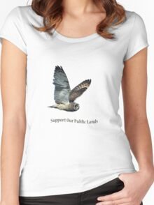 Flying Short-eared Owl - Support Our Public Lands Women's Fitted Scoop T-Shirt