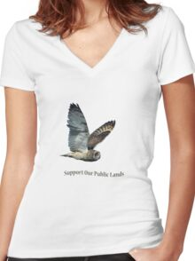 Flying Short-eared Owl - Support Our Public Lands Women's Fitted V-Neck T-Shirt