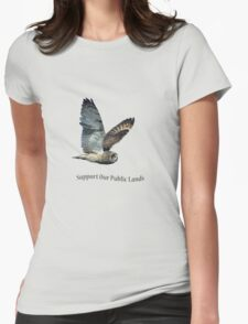 Flying Short-eared Owl - Support Our Public Lands Womens Fitted T-Shirt