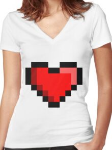 8-bit Red Heart Women's Fitted V-Neck T-Shirt