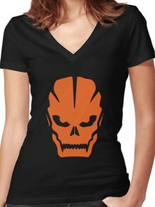 Orange skull Women's Fitted V-Neck T-Shirt