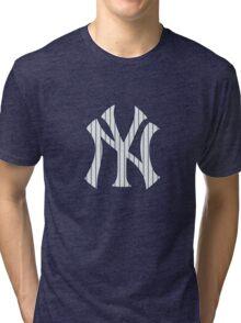 New York Yankees Pinstripes Logo Tri-blend T-Shirt