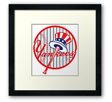 New York Yankees Pinstripes Logo Framed Print