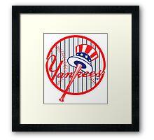 New York Yankees Pinstripes Logo Framed Print