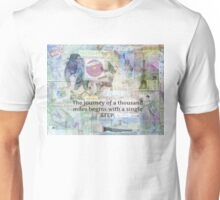 Travel, Journey Adventure quote by Lao Tzu Unisex T-Shirt