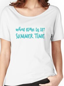 What time is it? in blue Women's Relaxed Fit T-Shirt