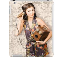 Cute housewife in 50s style on vintage phone iPad Case/Skin