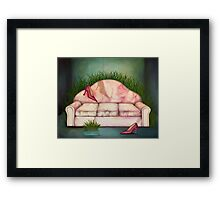 Armchair and shoes Framed Print
