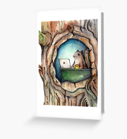 """""""Spreadsheet Squirrel"""" - watercolor squirrel in tree, woodland creatures, squirrel painting, hipster squirrel Greeting Card"""