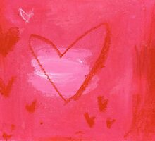 Red hearts on pink by Tine  Wiggens