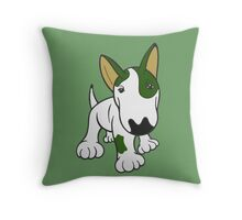 Bull Terrier Eye Patch Pup White & Greens Throw Pillow