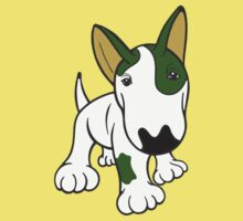 Bull Terrier Eye Patch Pup White & Greens One Piece - Short Sleeve