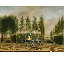 A Formal Garden with Dino Rider Photographic Print