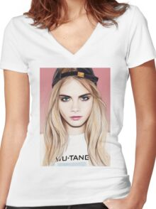 Cara Delevingne pencil portrait fanart Women's Fitted V-Neck T-Shirt